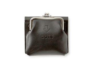 外がま口の三つ折財布 ブラック