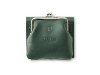 外がま口の三つ折財布 グリーン