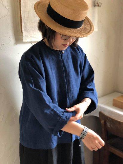 【10/2まで期間限定販売】AN Linen/ノーカラージャケットUTA リネンbleu antique