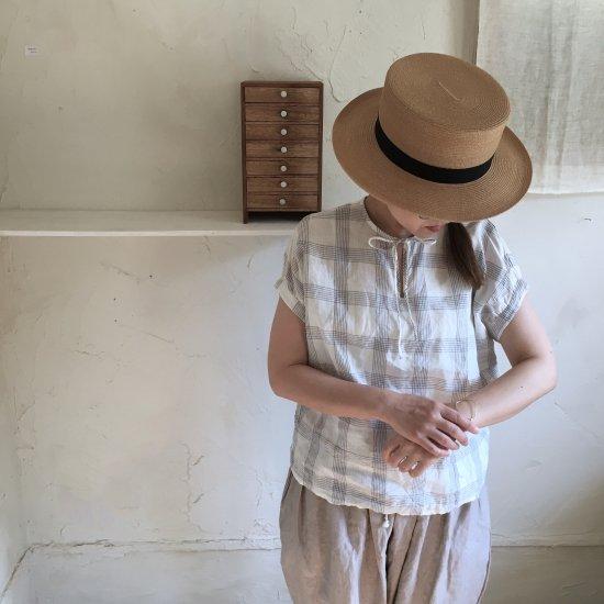 【10/2まで期間限定販売】AN Linen/半袖ブラウスLulu 白×グレーチェックリネン