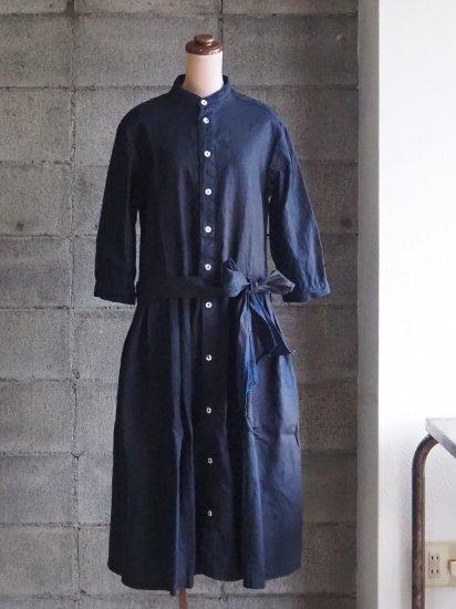 Sa-Rah/スタンドネックリボンワンピース【七分袖】ダークインディゴリネン