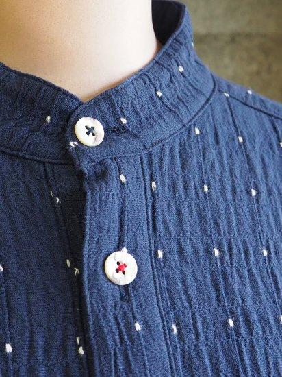 Sa-Rah/スタンドネックリボンワンピース【七分袖】やわらかコットン水玉