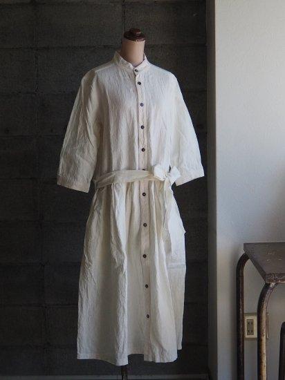 Sa-Rah/スタンドネックリボンワンピース【七分袖】アンティークホワイト