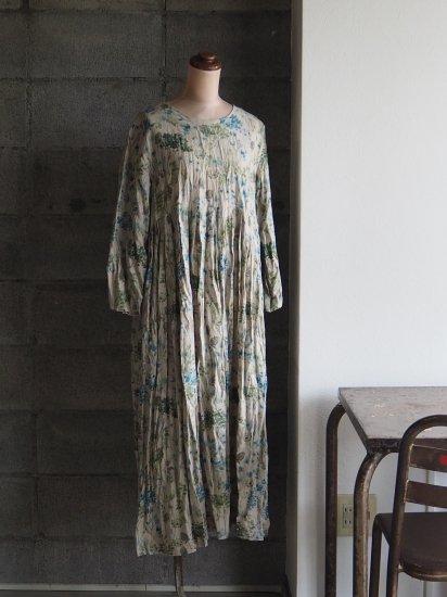 Sa-Rah/kochiワンピース【七分袖】ブルーグリーンフラワー小花
