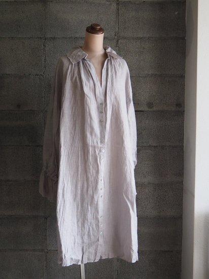 Momono-hana/ギムナジウムシャツワンピース【手染】リネンペールラベンダー