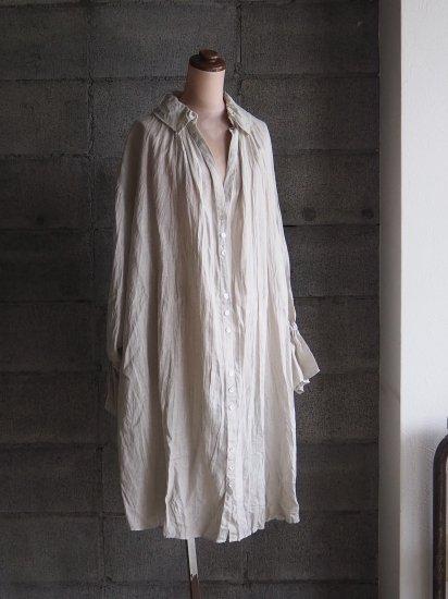 Momono-hana/ギムナジウムシャツワンピース【手染】リネンセージ