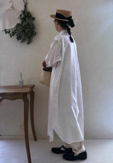 【10/2まで期間限定販売】AN Linen/ロングシャツワンピース『音 oto』リネンオフホワイト