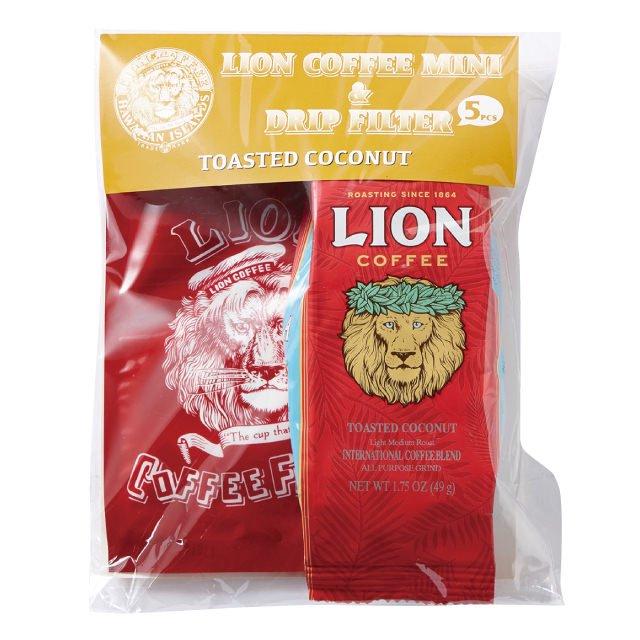 ライオンコーヒー ライオンミニ&ドリップフィルターセット トーステッドココナッツ 49g(5枚)×15個