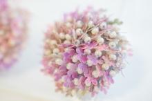 お花スパンコールのくるみボタン風刺繍