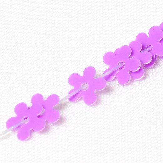 【 糸通しスパンコール 】5mm花 ラベンダーピンク