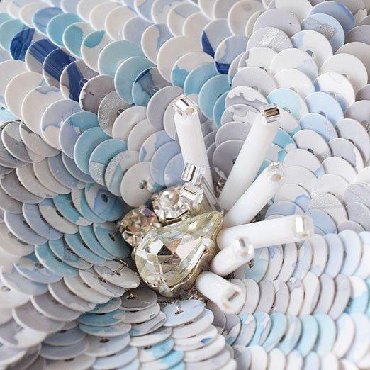 【オートクチュールスパンコール】5mm平 ツイードブルー ハンドペイント collection【約1000枚】
