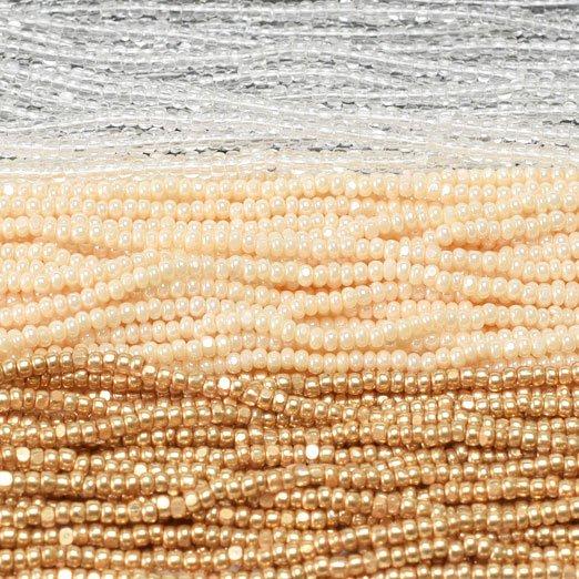 【シャーロットビーズアソート】メタリックゴールド・エッグシェル・クリスタル【3色入り】
