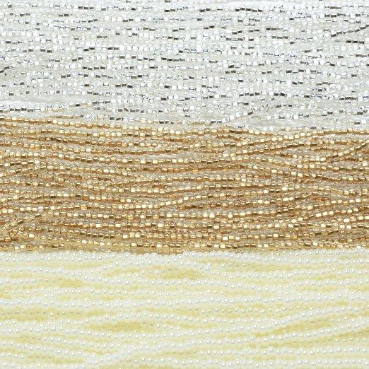 【11/0ビーズアソート】ディアモンテシルバー・シャンパンゴールド・パールオフホワイト【3色入り】