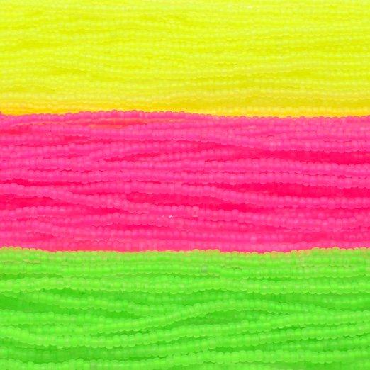 【チェコビーズアソート】ネオンピンク・ネオンイエロー・ネオングリーン【3色入り】