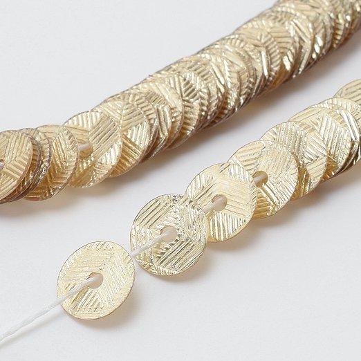【糸通しスパンコール】5mm平 ギローシェペールゴールド【1000枚】