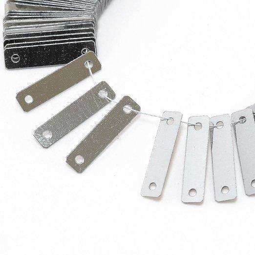 【糸通しスパンコール】3x12mm長方形 メタリックシルバー