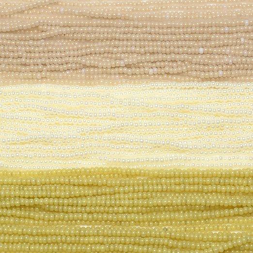 【11/0チェコビーズアソート】オパールコッパー・パールオフホワイト・オールドイエロー【3色入り】