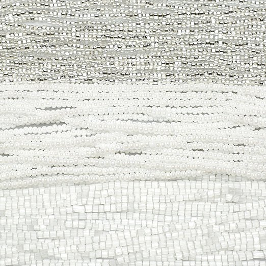 【チェコビーズアソート】12/0ディアモンテシルバー・11/0ブライトホワイト・六角シルクホワイト【3色入り】