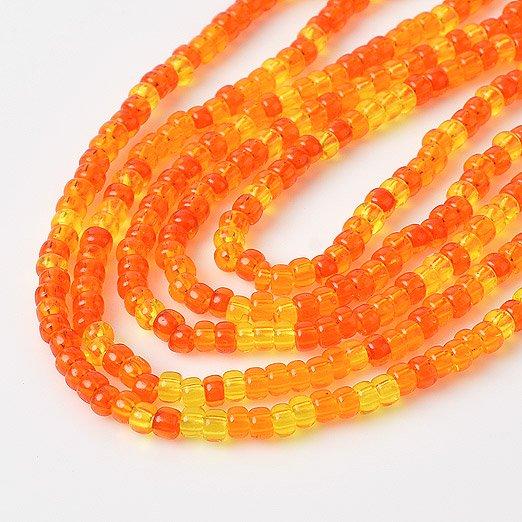 【 広島ビーズ 】丸小 オレンジ Mix【 3m入り 】