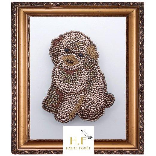 キット ブローチ「トイプードル」 リュネビル刺繍でもビーズ刺繍でもできます