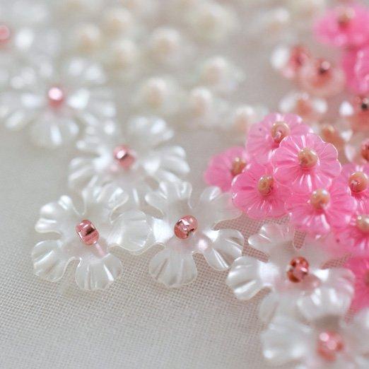 【バラスパンコール】10mm花 ペールホワイト【14枚入り】
