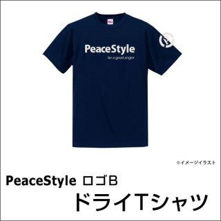 PeaceStyleロゴB ドライTシャツ(ネイビー×オフホワイト)