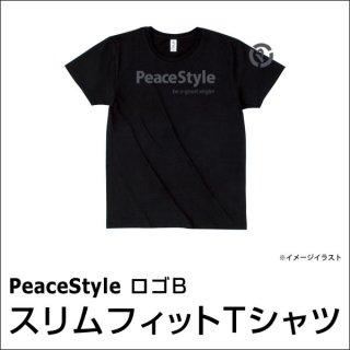 PeaceStyleロゴB スリムフィットTシャツ(ブラック×ダークグレー)