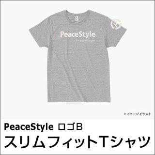 PeaceStyleロゴB スリムフィットTシャツ(ヘザーグレー×オフホワイト)