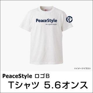 PeaceStyleロゴB Tシャツ 5.6オンス(ホワイト×ネイビー)