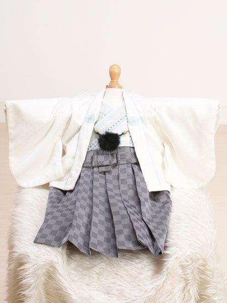 激安格安 男の子ベビー着物レンタル(BB-8)100日~6ヶ月 白/グレー・市松|初節句・百日記念