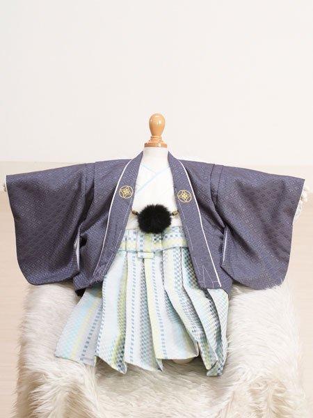 激安格安 男の子ベビー着物レンタル(BB-9)100日~6ヶ月 青グレー/薄グレー・市松|初節句・百日記念