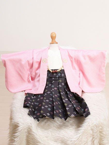 男の子ベビー着物レンタル(BB-10)100日〜6ヶ月 ピンク/黒