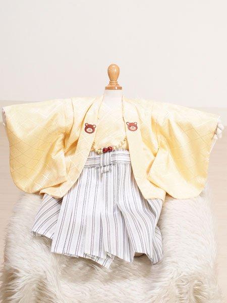 激安格安 男の子ベビー着物レンタル(BB-11)100日~6ヶ月 黄/白・縞|初節句・百日記念
