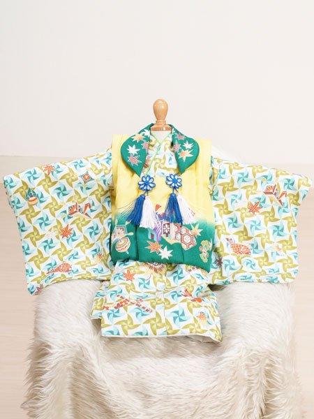 激安格安 男の子ベビー着物レンタル(BB-13)1歳~1歳6ヶ月 黄×緑/風車|初節句・百日記念