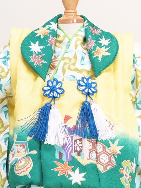 男の子ベビー着物レンタル(BB-13)1歳〜1歳6ヶ月 黄×緑/風車