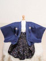 激安格安 男の子ベビー着物レンタル(BB-15)1歳〜1歳6ヶ月 青/黒|初節句・百日記念