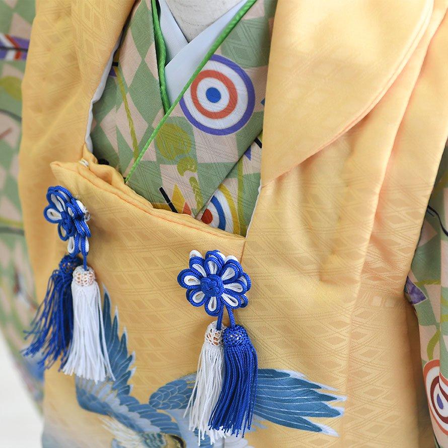 七五三着物三歳男の子レンタル(3M-10)黄緑・黄/たか・矢・斜め格子 花うさぎ