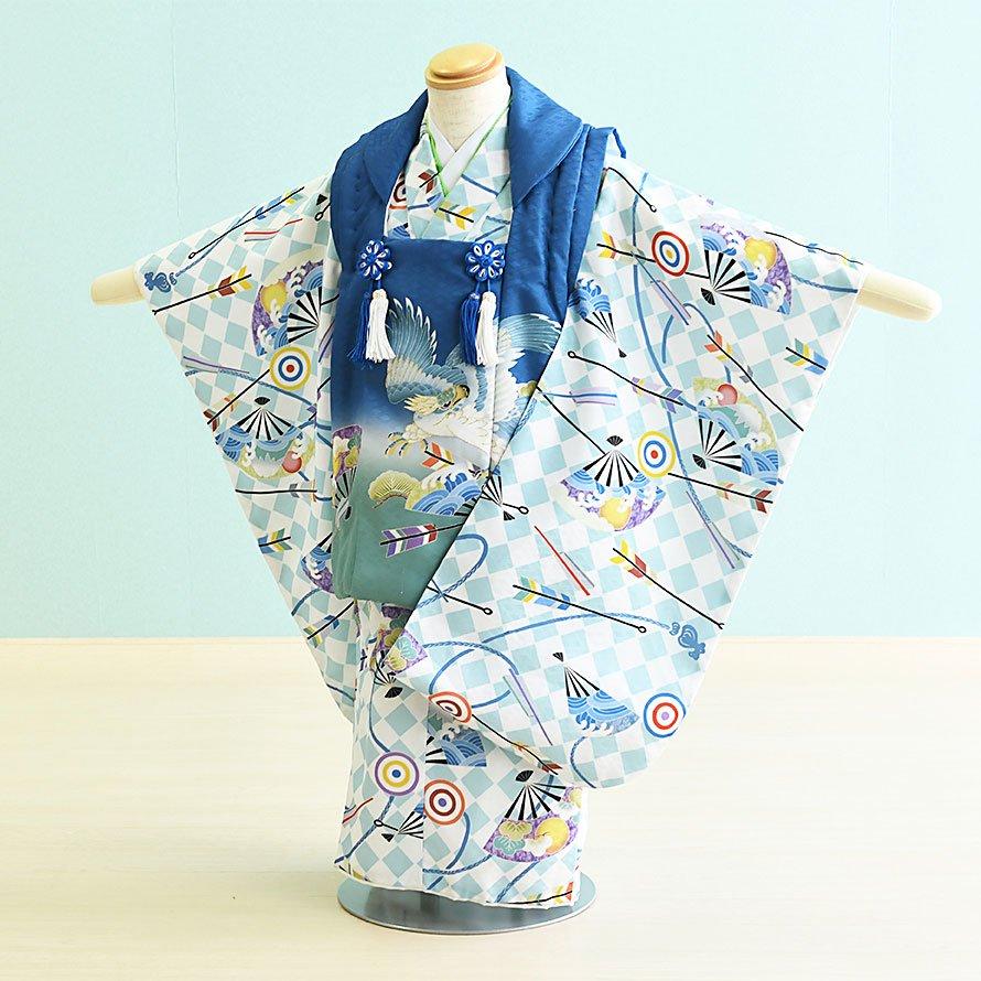 七五三着物三歳男の子レンタル(3M-11)水色・青/たか・矢・斜め格子 花うさぎ