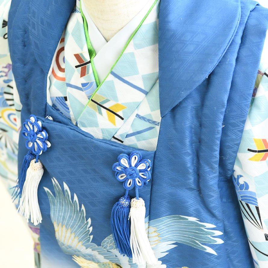 七五三着物三歳男の子被布レンタルセット(3M-11)水色・青/たか・矢・斜め格子 花うさぎ