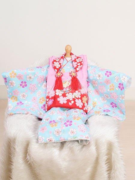 激安格安 女の子ベビー着物レンタル(BG-14)1歳~1歳6ヶ月 ピンク×水色/桜・まり|初節句・百日記念