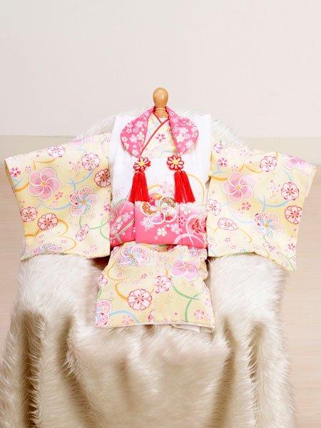 激安格安 女の子ベビー着物レンタル(BG-15)1歳~1歳6ヶ月 白×クリーム/桜|初節句・百日記念