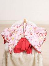 女の子ベビー着物レンタル(BG-16)6ヶ月〜1歳 ピンク×赤/十二単