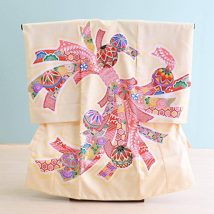 激安格安 お宮参り・初着レンタル 女の子用(O-37)クリーム/鞠|産着・のしめ・祝い着