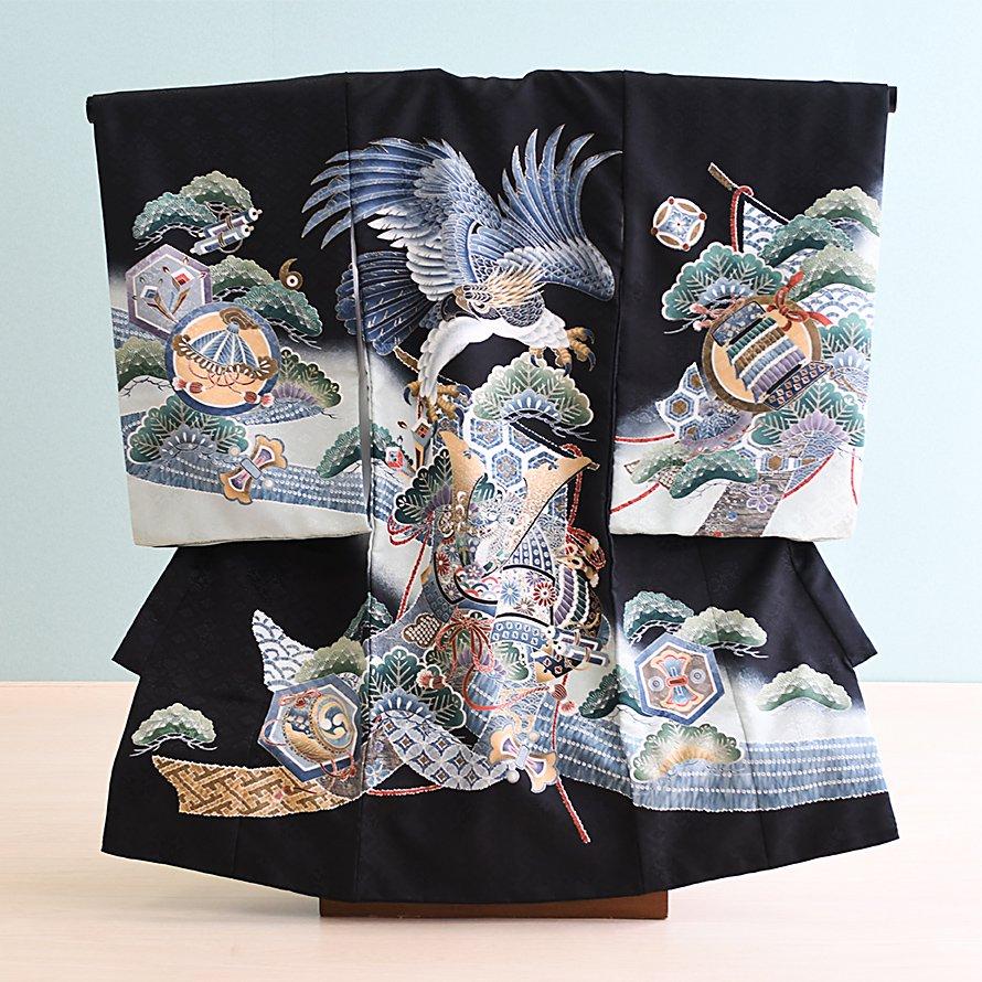 激安格安 お宮参り・初着レンタル 男の子用(OM-35)黒/鷹・兜|産着・のしめ・祝い着・着物