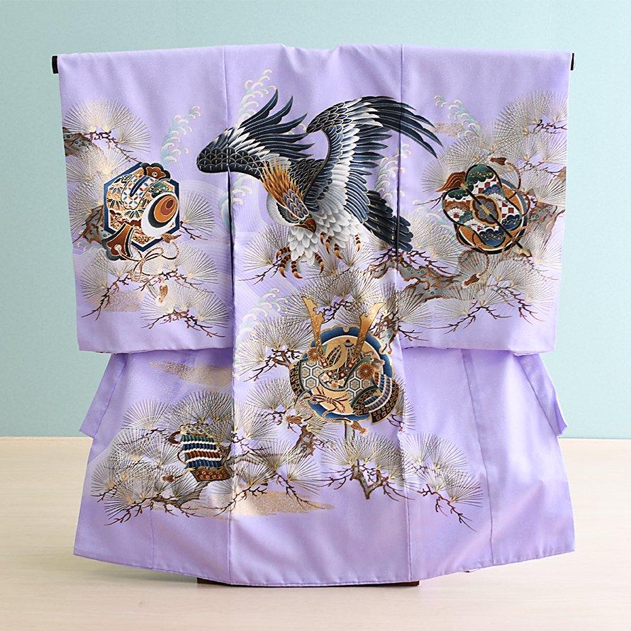 激安格安 お宮参り・初着レンタル 男の子用(OM-36)うす紫/鷹・兜|産着・のしめ・祝い着・着物