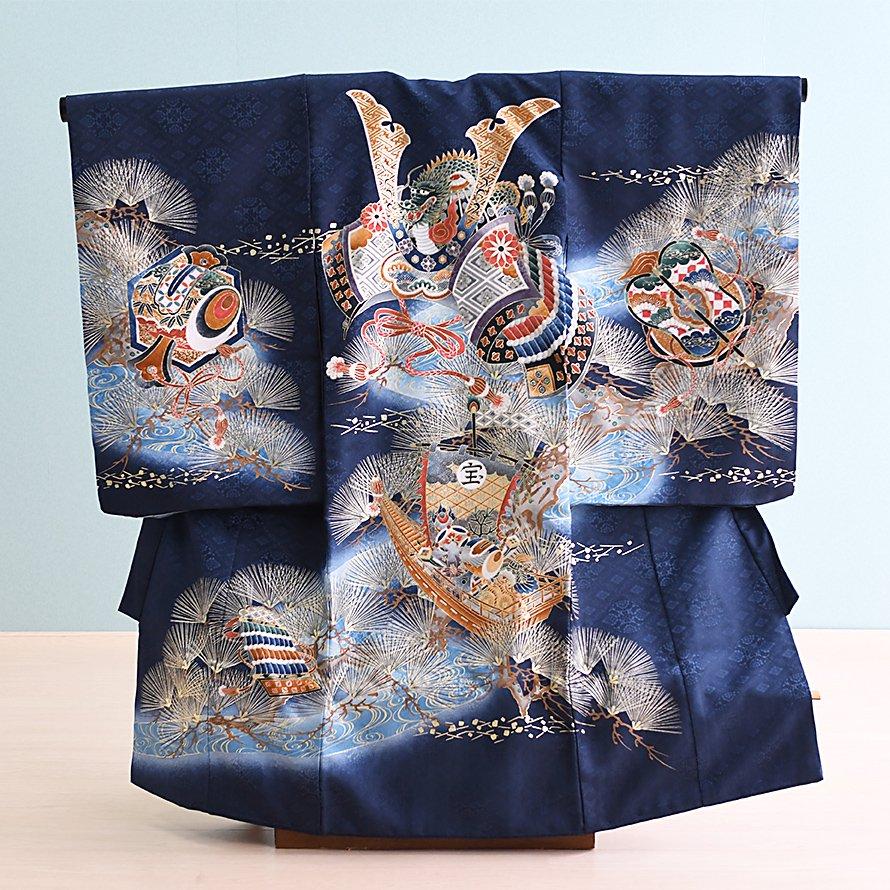 激安格安 お宮参り・初着レンタル 男の子用(OM-37)紺/兜|産着・のしめ・祝い着・着物