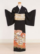 黒留袖レンタル(TS-1)黒/扇面・松 正絹