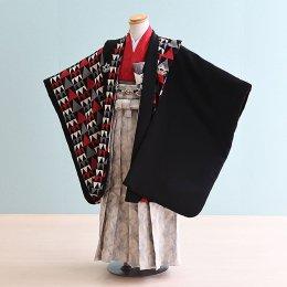 七五三着物五歳男の子レンタル(5-60)黒×赤/うろこ柄 おりびと