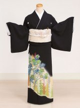 黒留袖レンタル(TS-2)黒/鳥・葉 正絹