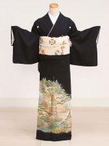 黒留袖レンタル(TS-3)黒/松・鉾 正絹